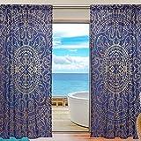 TIZORAX Vorhang für Wohnzimmer, Hippie-Mandala, transparent, für Fenster, Vorhang, Voile, 140 x 198 cm, Blau/goldfarben, Polyester, Multi, 55' W x 78' L