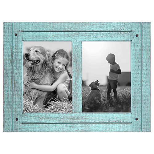 Americanflat 5x7 Double Picture Frame in Turquoise Blue - Textured Wood and Polished Glass - Horizontal and Vertical Formats for Wall and Tabletop, 2 5x7 openings