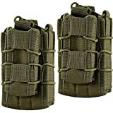 HOANAN Double Mag Pouch, Tactical Molle Magazine Pouch Open-Top Single Rifle Pistol Mag Pouch Cartridge Clip Pouch Hunting Bag (2pack-Upgrade Olive)