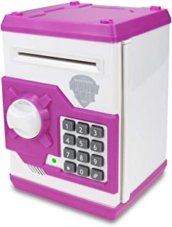 TOPBRY Piggy Bank for Kids ,Electronic Password Piggy Bank Kids Safe Bank Mini ATM Piggy Bank Toy for 3-14 Year Old Boys and Girls (White Pink)
