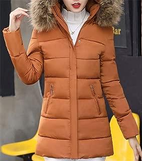 Women's Faux Fur Hooded Slim Fit Down Coat Cotton Parka Warm Winter Puffer Jackets