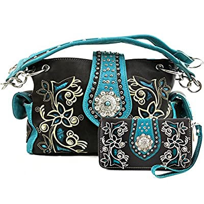 Justin West Embroidery Floral Turquoise Rhinestone Concho Laser Cut Tooled Leather Western Shoulder Concealed Carry Handbag Purse (Turquoise Dark Brown Purse and Wallet)