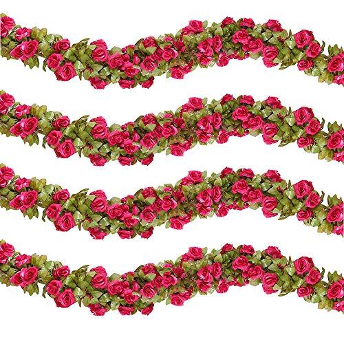 HEBE 4 Pack (29.8 FT) Artificial Rose Vine Silk Flower Garland Hanging Baskets Plants Home Outdoor Wedding Arch Garden Wall Decor