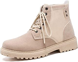 SHENTIANWEI Combat Boots for Men High Top Boot Lace Up Style Suede Vamp Round Toe Fleece Inside Experienced Stitched Outdoor Anti Slip Sport (Color : Beige, Size : 8.5 UK)