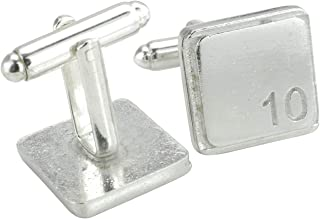 Square Cufflinks with '10' Engraved - 10th Anniversary
