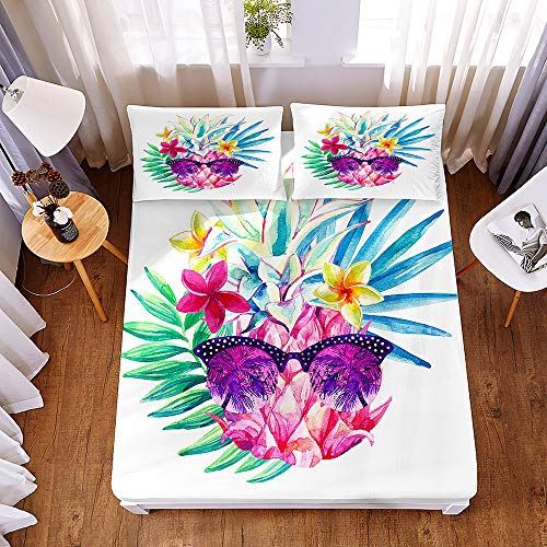 Bedding Fitted Sheets Deep 30cm, Morbuy Tropical Pineapple 3D Printed Bedding Microfiber Soft Fade Resistant Bed Sheets for Single Double King Size Bedsheet with 2 Pillowcases (90 * 200 * 30cm,A)