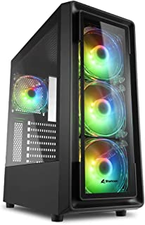 Sharkoon TK4 RGB, Caja de Ordenador, PC Gaming, Semitorre ATX, Negro