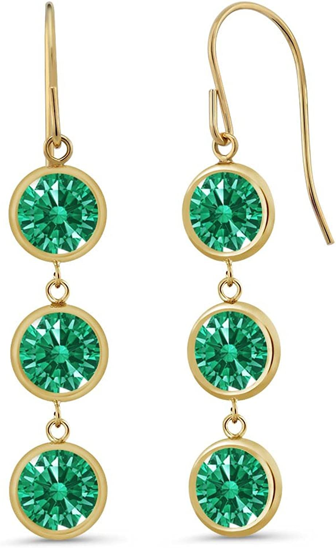2.76 Ct Green 14K Yellow gold Earrings Made With Swarovski Zirconia