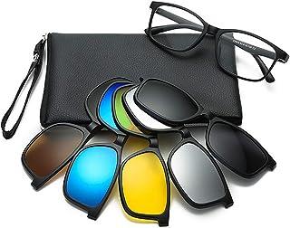 نظارات شمسية من عدسات مستقطبة ذات مشبك مغناطيسي أسود