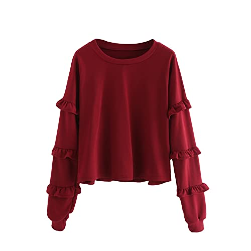 1de6a77186 SheIn Women's Sweet Round Neck Pullover Drop Shoulder Eyelet Lace up  Sweatshirt X-Large Burgundy