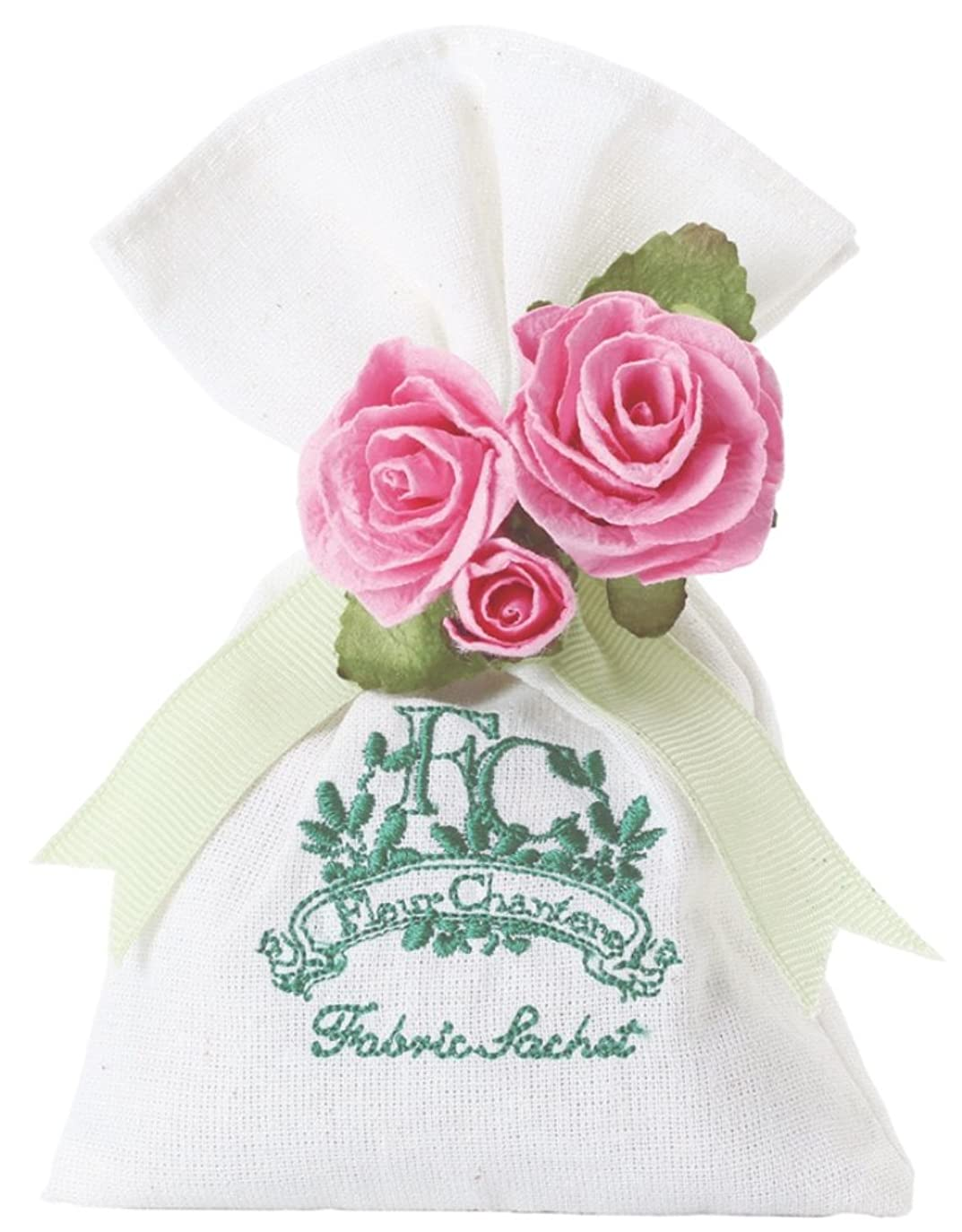 ジムスーツケースと遊ぶ芳香剤 フルールシャンテ カルム ファブリックサシェ スウィートローズ OA-RZS-3-2