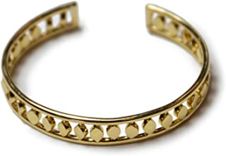 Aida Gold Cuff for Women or Girls: 14K Gold Plated Stylish Cuff Bracelet Features Diamond Shaped Etchings That Shimmer and Shine.