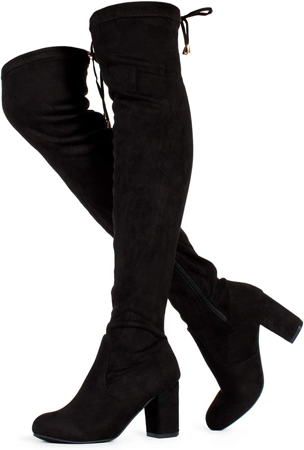 | RF ROOM OF FASHION Chateau Women's Over The Knee Block Heel Stretch Boots (Medium Calf) | Over-the-Knee