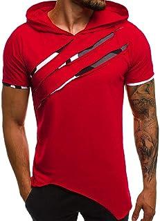 Letdown_Men tops Hooded Shirts for Men Short Sleeve Scratch Zipper Pattern Casual Slim Fit T-Shirts Mens Fashion Summer Shirt