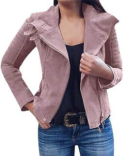 Shusuen Faux Suede Jackets for Women Long Sleeve Zipper Short Moto Biker Coat Women's Classic Zip Faux Leather Jacket