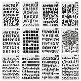 CCMART Kunststoff Bullet Journal Schablone Set der Zahl 12 mit Buchstaben Alphabet Symbol Perfekte für Planer/Notebook/Diary/Scrapbook/Journaling/Graffiti/Karte DIY Zeichnen Malen Basteln...