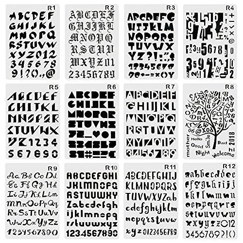CCMART Kunststoff Bullet Journal Schablone Set der Zahl 12 mit Buchstaben Alphabet Symbol Perfekte für Planer/Notebook/Diary/Scrapbook/Journaling/Graffiti/Karte DIY Zeichnen Malen Basteln Projekte