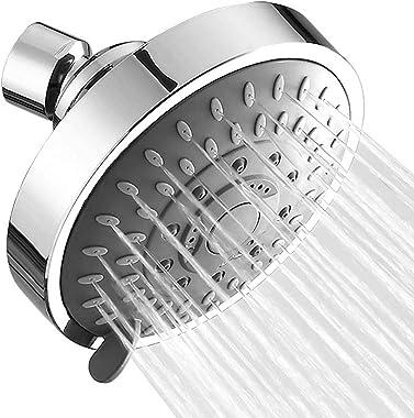 Shower Head High Pressure Rain, 5 Function Bathroom Showerhead, with Adjustable Metal Swivel Ball Joint, Easy Tool Free Insta