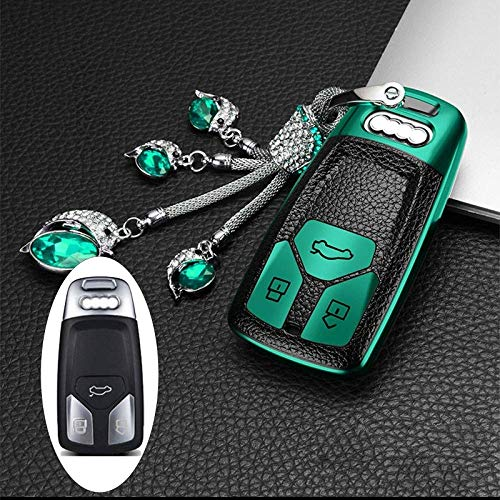 HUAQIANYU Car Accessories Key Shells,Car Key Cover Case Keychain , For Audi Car Key Case Cover Protect Shell, Compatible With A4 A5 Q7 Tt B9 Q5 Q7 Tt Tts 8S S4 S5,Crystal GreenCrystal Green