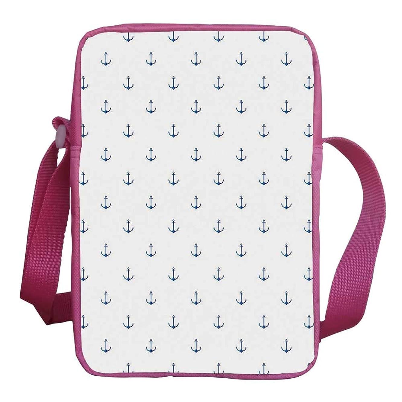 Anchor Stylish Kids Crossbody Bag,Classical Vivid Blue Anchors Simplistic Design Marine Hobby Lifestyle Themed Symbols Decorative for Girls,9
