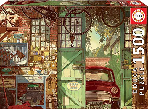 Educa Borrás Puzzle 1.500 piezas, Old garage, multicolor, 1500 18005 , color/modelo surtido