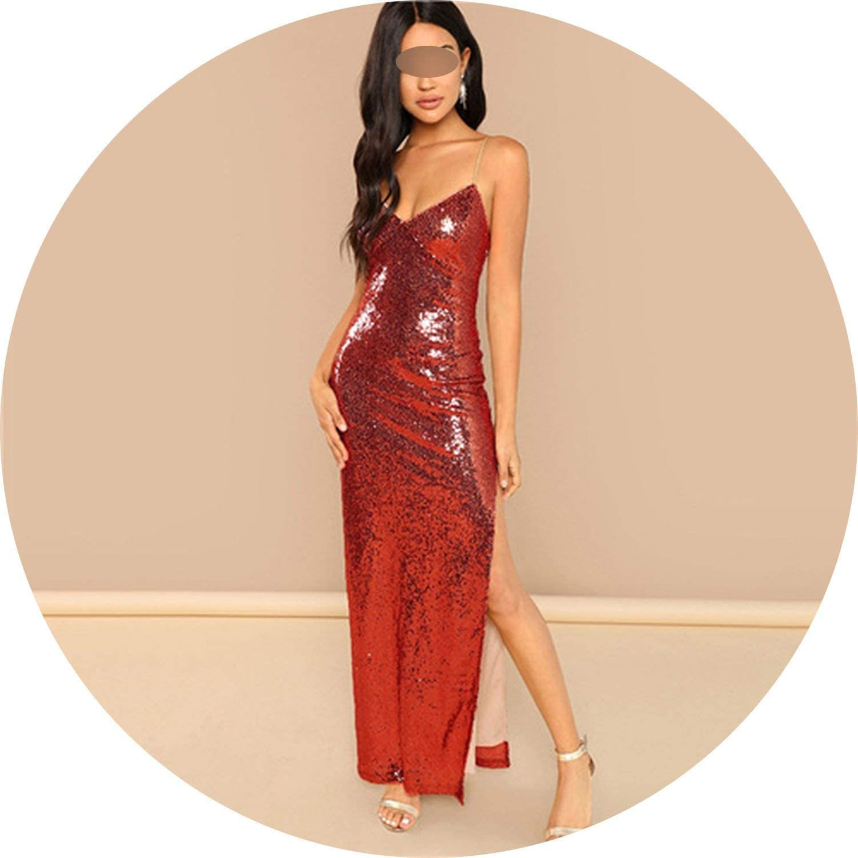 a8bf3ec0ae80 ... Brave pinkmary Red Sequins Cami Split Christmas Party Dress Women 2019  Sleeveless Spaghetti Strap Zipper Sexy