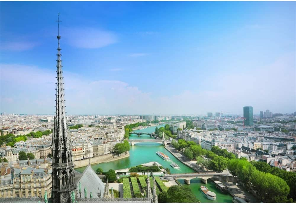 OERJU 15x10ft View from Notre Dame Cathedral Backdrop Blue Sky Famous Landmark Photography Background Home Interior Decor Kids Adults Portrait Photoshoot Booth Props YouTube Video Making Wallpaper
