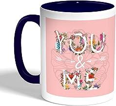 كوب سيراميك للقهوة بتصميم رومانسي، لون ازرق