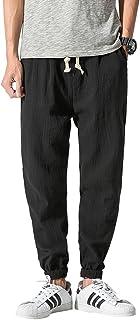 ShallGood Uomo Harem Pantaloni Estate Casual Baggy Leggero Traspirante Tinta Unita Lino Lungo Pantaloni con Coulisse