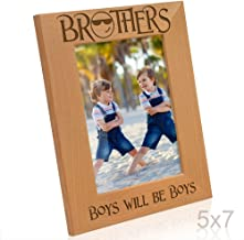 Kate Posh - Brothers, Boys will be Boys Engraved Natural Wood Picture Frame - Birthday Gifts, Big Brother, Little Brother, Christmas Gifts, Groomsman Gifts, Best Man Wedding Gifts (5x7-Vertical)