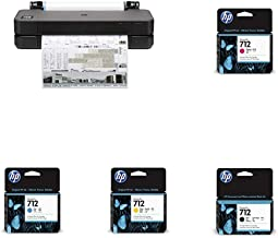"""HP DesignJet T210 Large Format Compact Wireless Plotter Printer - 24"""" (8AG32A), with Standard Genuine Ink Cartridges (4 In..."""