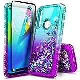 E-Began Moto G Power Glitter Case with Tempered Glass Screen Protector (Full Coverage), Liquid Quicksand Sparkling Diamond, Girls Women Cute Phone Case for Motorola Moto G Power (2020) -Aqua/Purple