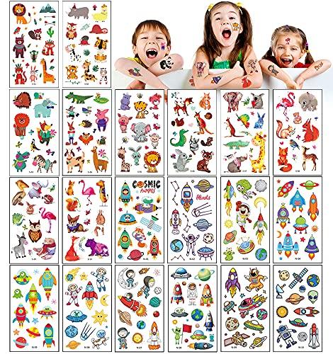 UniBaby7 Tatuajes Temporales para Niños, 20 hojas 200pcs Tema Animal Universo Tatoos Infantiles Impermeable Respetuoso Con La Piel, Tatuajes Regalos De CumpleañOs Festivales Suministros Fiestas