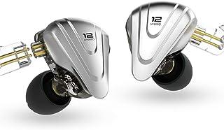G.K KZ ZSX Terminator Metal Headset 5BA + 1DD Hybrid 12 Drivers HiFi Bass Earbuds Auriculares con Monitor de oído Auriculares con cancelación de Ruido(con Mic,Negro)