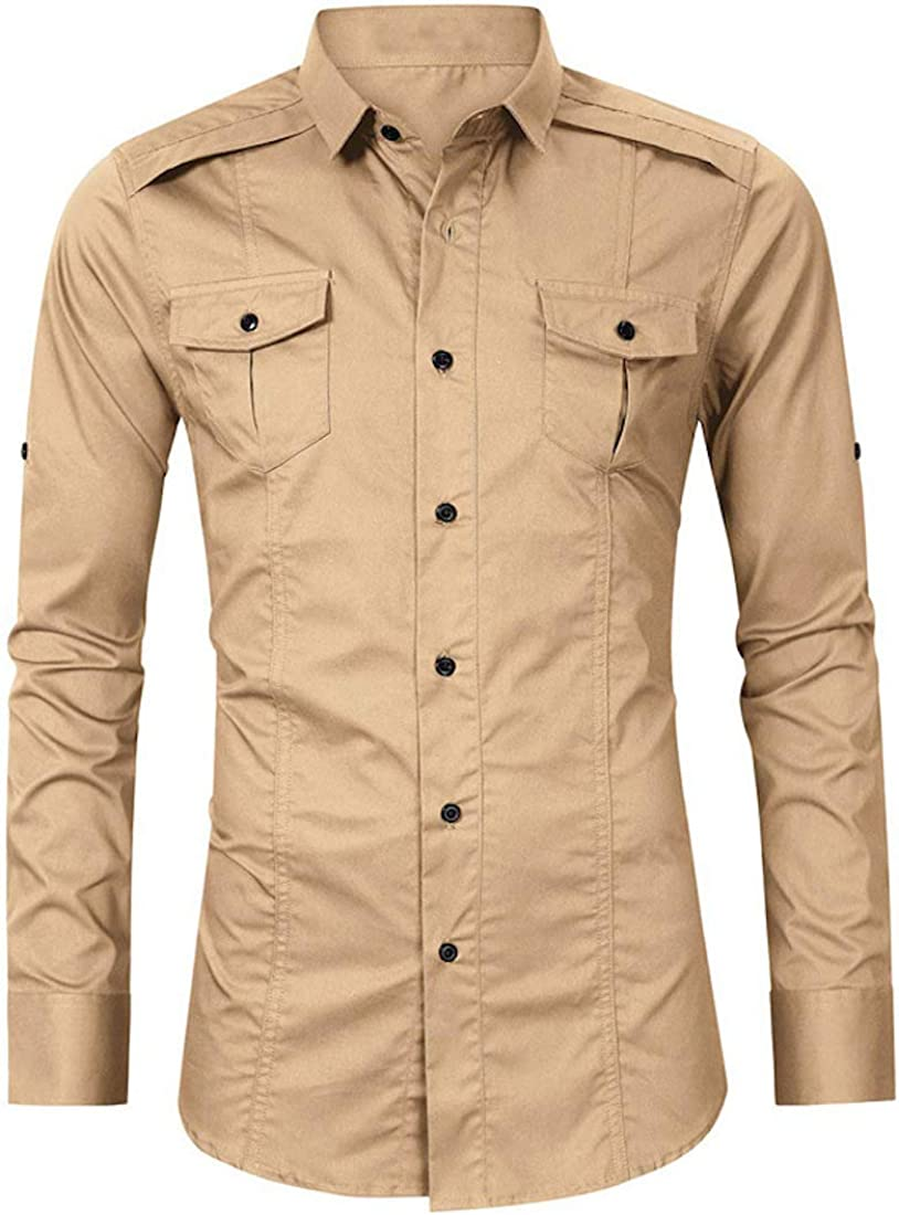 Cicilin Men's Button Down Shirts Long Sleeve Cotton Slim Fit Casual Military Top
