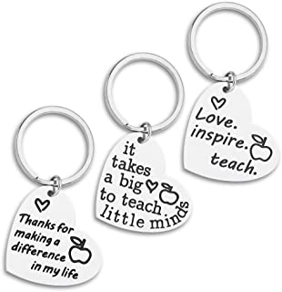 Gifts for Teacher 3PCS Heart Appreciation Keychain for Women Men Birthday Graduation Christmas Thank You Gift for Teacher Gift from Student Teacher End of Year Retirement Gift