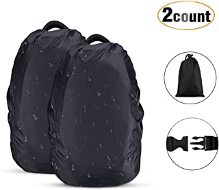 AGPTEK 2-Pack Nylon Waterproof Backpack Rain Cover for Hiking/Camping/Traveling/Outdoor Activities, Black,Size (XS:10-17L S:18-25L M:30-40L L:45-55L)