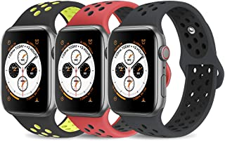AdMaster Compatible with Apple Watch Band 42mm 44mm,Soft Silicone Replacement Wristband Compatible with iWatch Series 1/2/3/4 - S/M RedBlack/BlackVolt/AnthraciteBlack