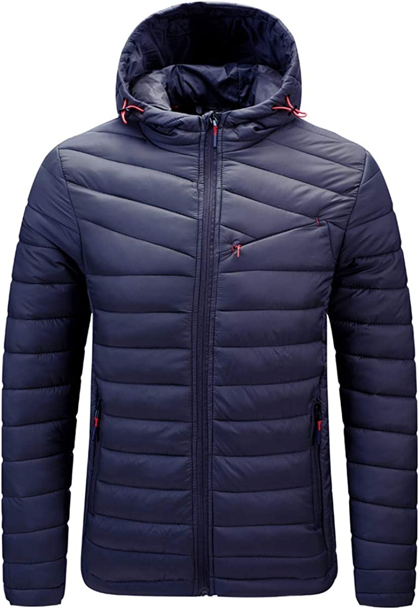 Mens Hooded Down Alternative Puffer Jacket Insulated Quilted Outerwear Winter Coat