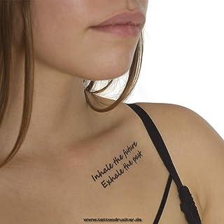 2 x Inhale The Future Exhale The Past Tijdelijke Tattoo Tekst in zwart (2)