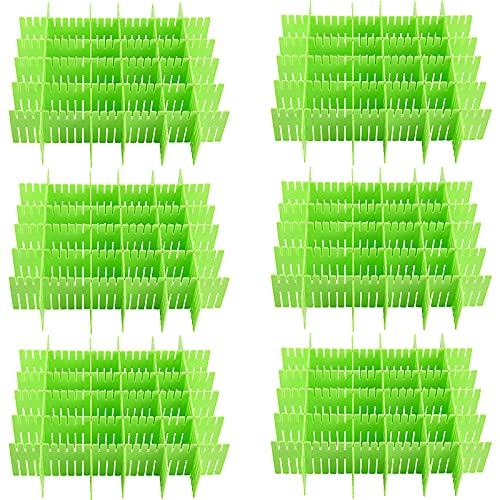 ZOENHOU - 60 divisores de cajones verdes ajustables, de plástico premium para cajones de maquillaje, cajones de escritorio, cocina,...