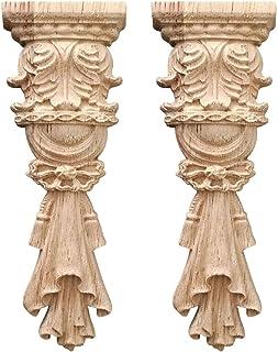 Nati Lot de 2 appliques décoratives en bois non peintes pour meubles non peints, décoration pour armoire, armoire, porte, ...