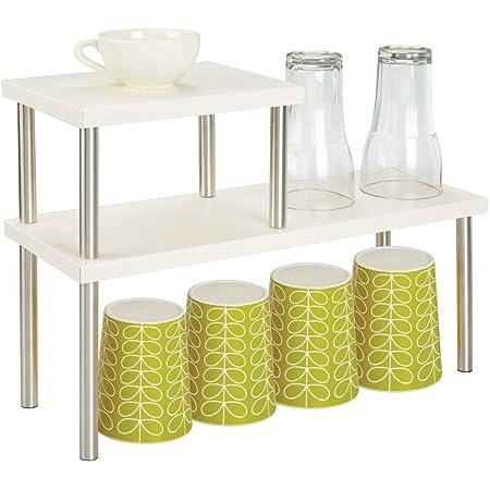 mDesign Estantería metálica con 2 niveles – Baldas de cocina estrechas para encimeras y armarios – Estantes de metal y acero con dos alturas para la ...