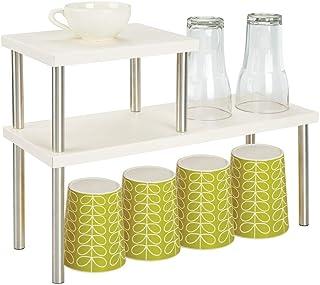 mDesign Estantería metálica con 2 niveles – Baldas de cocina estrechas para encimeras y armarios – Estantes de metal y ace...