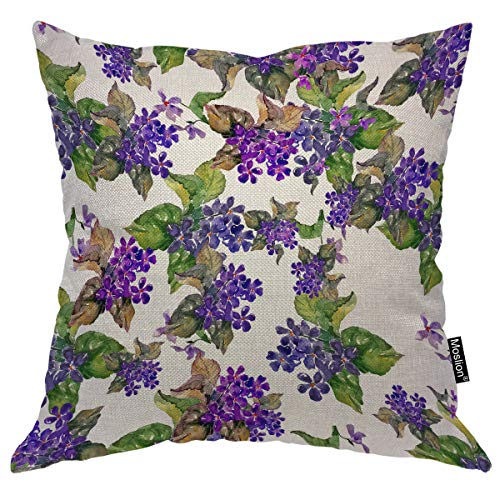 Moslion Floral Throw Pillow Cover Violet Watercolor Painting Colorful Wildflowers Leaves Blossom Square Pillow Case Cushion Cover for Home Car Decorative Cotton Linen 18x18 Inch