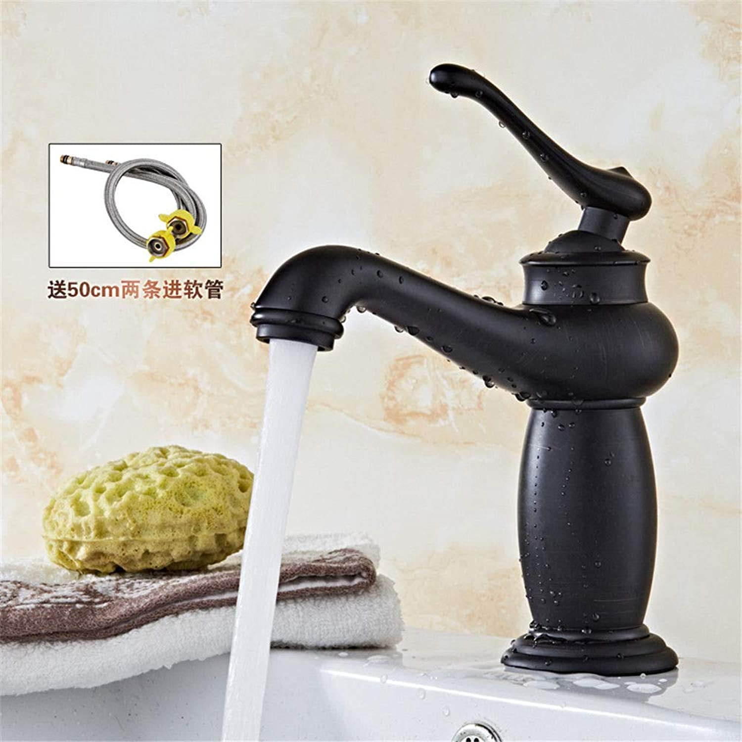 Hlluya Professional Sink Mixer Tap Kitchen Faucet The Copper Black lowered basin mixer antique basin, D.