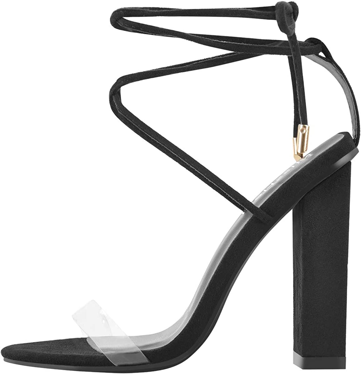 MissHeel Chunky Lace-up Heels Sandals Limited Trust price Black