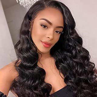 Lace Front Human Hair Wigs Loose Curl For Black Women Brazilian Loose Wave Pre Plucked With Baby Hair 130 Density Bleached Knot Glueless Free Part Cheap No Small Cap Brazilian Virgin Hair 16 Inch