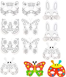 20 Set DIY Cartoon Animal Blank Painting Paper Masks Butterfly Rabbit Tiger Ladybug Cutouts Face Masks with Holes&Elastic Cords for Kids Jungle Forest Animal Birthday Party Kindergarten Graffiti Toys
