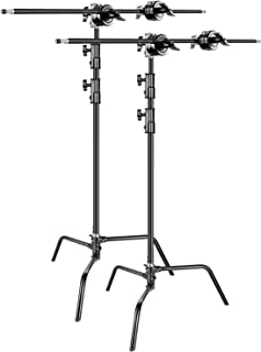 Neewer 2-pack Heavy Duty Light Stand C-Stand - Max. 10 feet/3 meters Adjustable with 3.5 feet Holding Arm and Grip Head for Studio Video Reflector, Monolight and Other Photographic Equipment (Black)